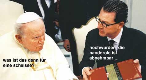 der papst und kai diekmann sprechen �ber banderolen