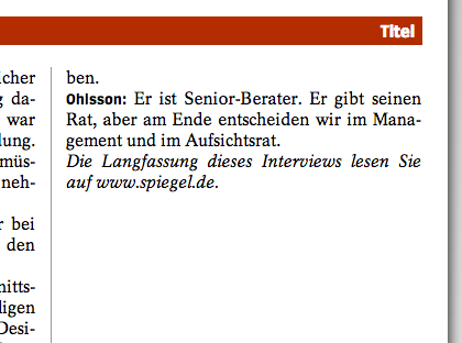 �Die Langfassung dieses Interviews lesen Sie auf www.spiegel.de.�