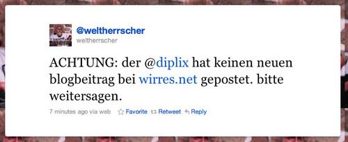 �ACHTUNG: der @diplix hat keinen neuen blogbeitrag bei wirres.net gepostet. bitte weitersagen.�