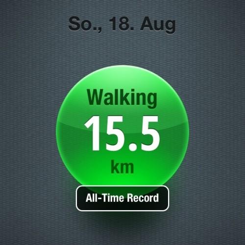 15 km gelaufen
