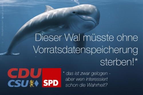 Dieser Wal m�sste ohne Vorratsdatenspeicherung sterben