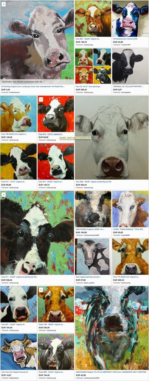 Portraits von K�hen als Ebay-Kollektion