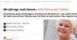 """spiegel.de: """"80-jährige Judi Dench: Reif fürs erste Tattoo"""""""