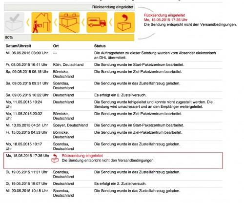paketverfolgung mit logistik- und logikproblemen