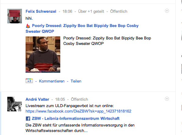 gefeedburnter artikel, geshared mit dem reader +1-button