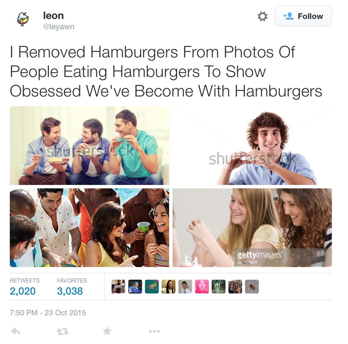 »I Removed Hamburgers From Photos Of People Eating Hamburgers To Show Obsessed We've Become With Ham