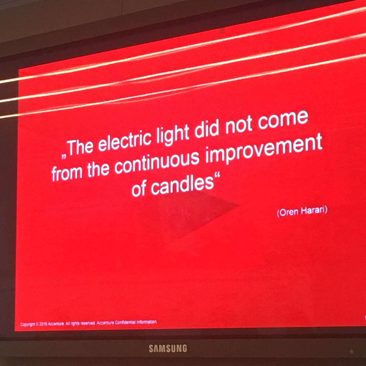 """the electric light did not come from the improvement of candles"""