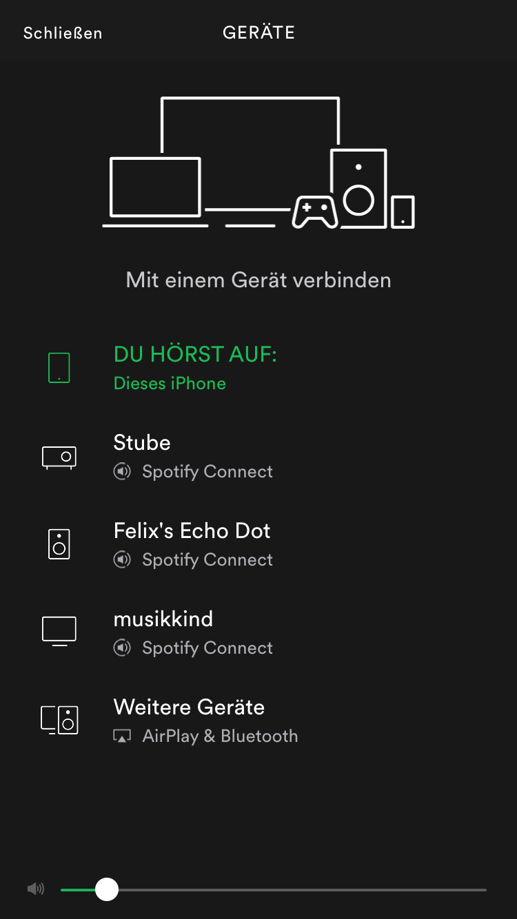 spotify-connect-optionen auf dem iphone