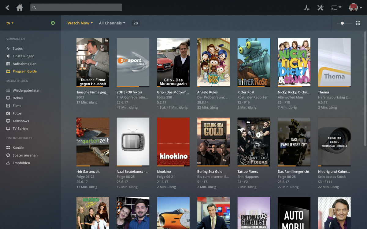 plex DVR program guide — was gerade so läuft