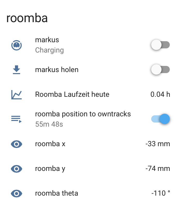 roomba-steuerung in homeassistant